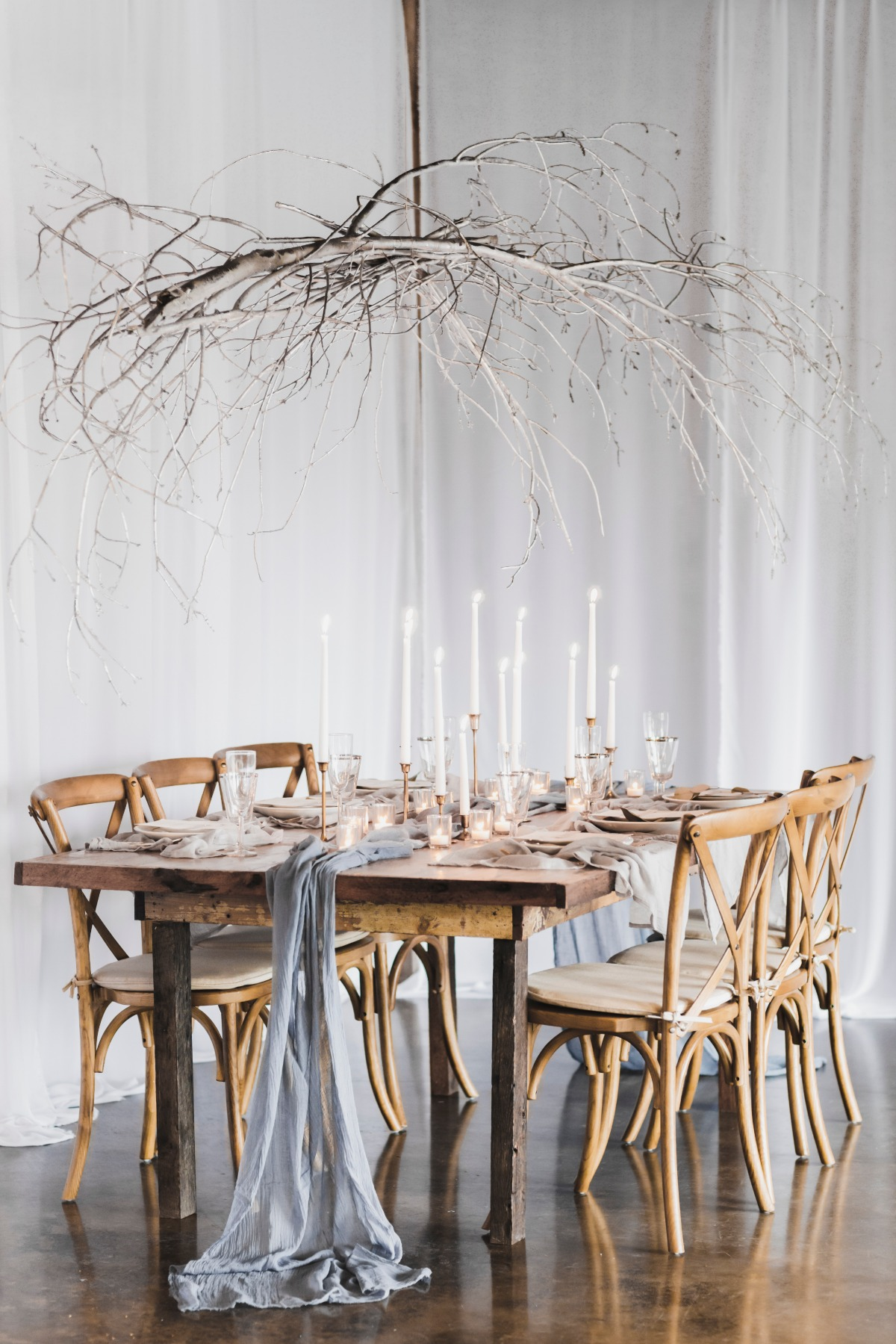 Rustic candle lit table decor