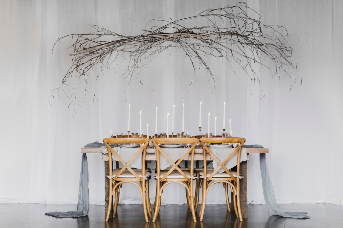 Rustic candle lit table