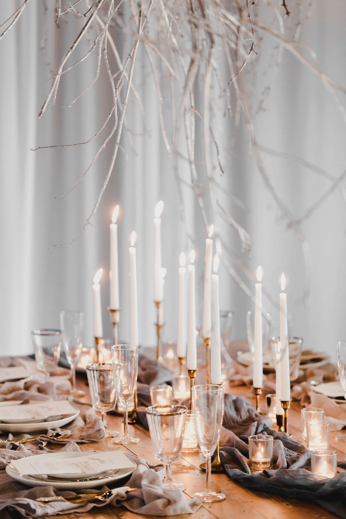 Rustic candle lit reception table