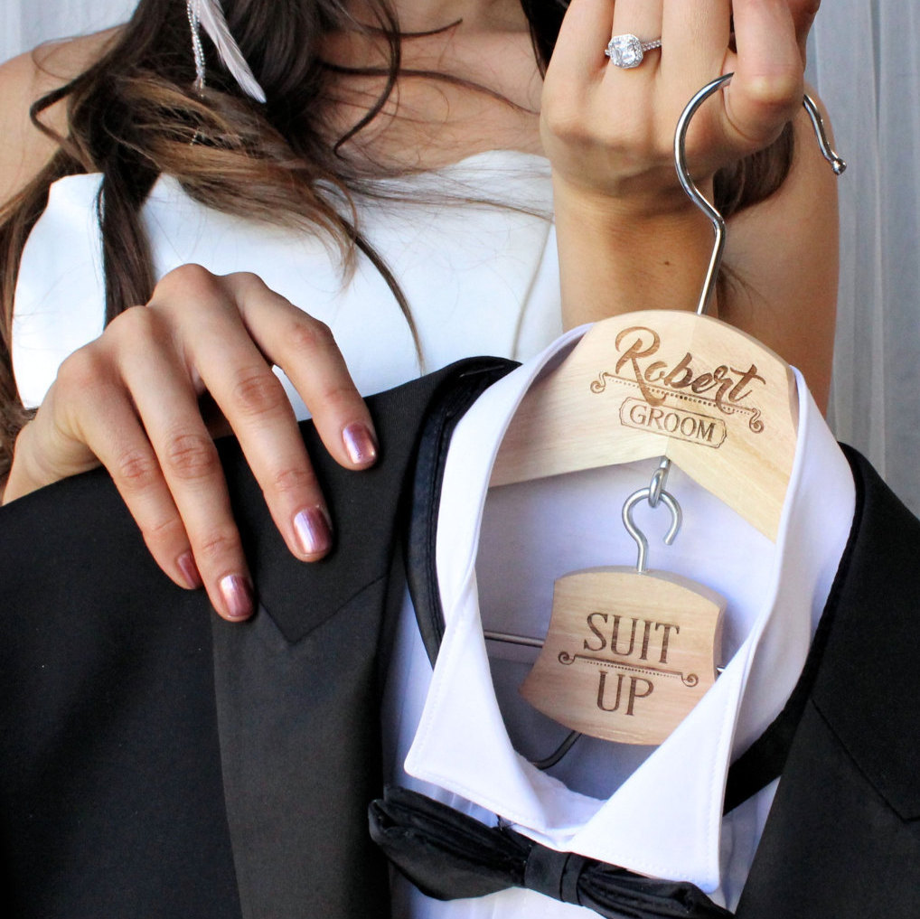 Wedding day Groom hanger, suit up for groomsmen gifts