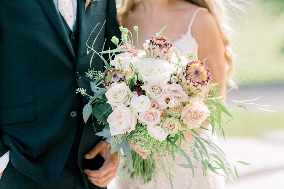 Giant protea wedding bouquet