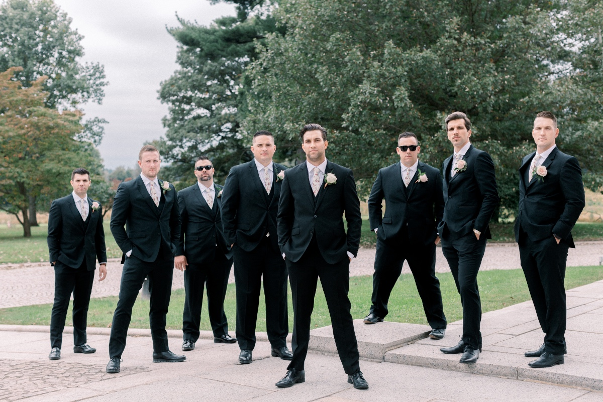 Groomsmen with floral ties