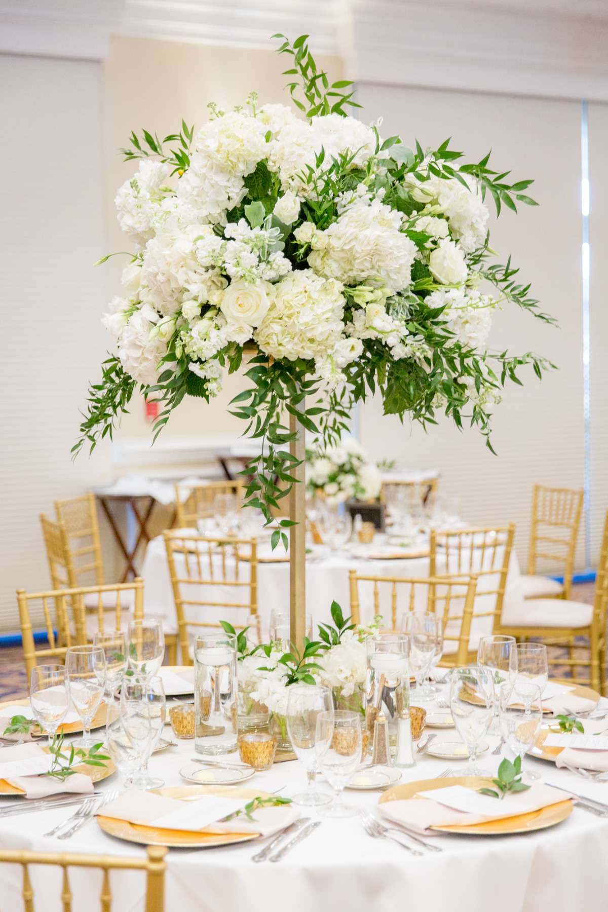 Tall white and green centerpiece