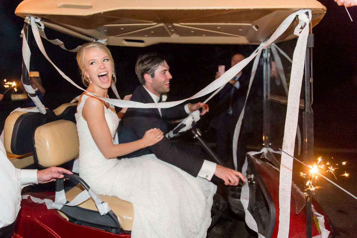 Wedding getaway golf cart