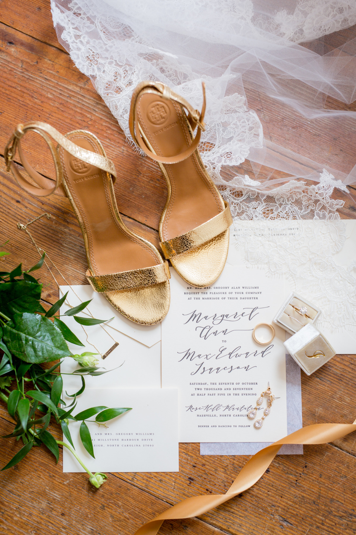 Gold wedding heels by Tory Burch
