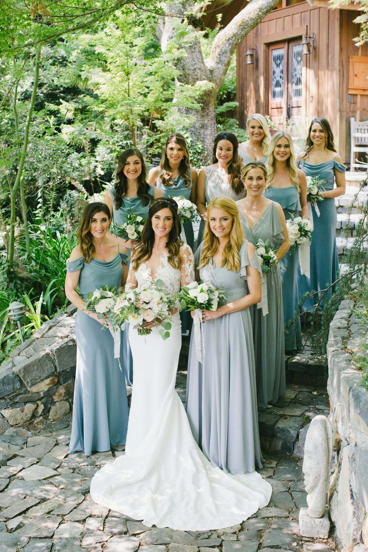 Bridesmaids in shades of blue