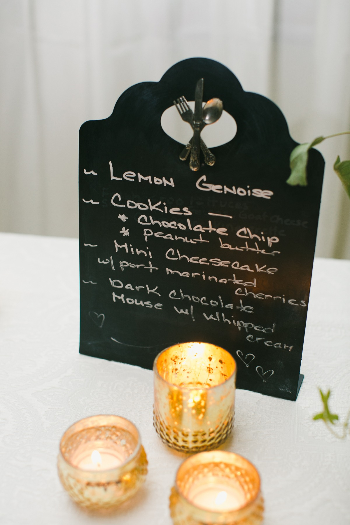 Cake table menu