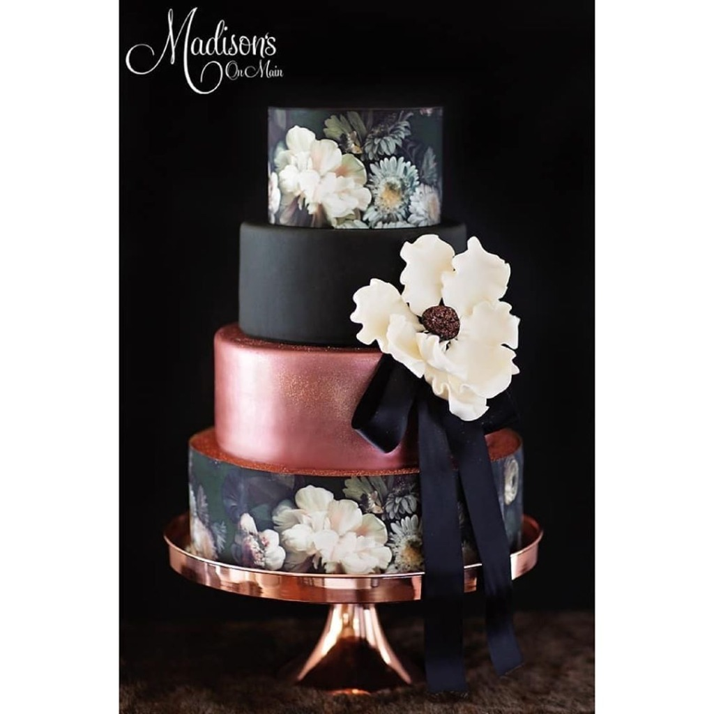 Rose Gold and Black Hand Painted Wedding Cake ~ Cake by Madison's On Main ~ Cake stand by Opulent Treasures ~ Photography by Kevin