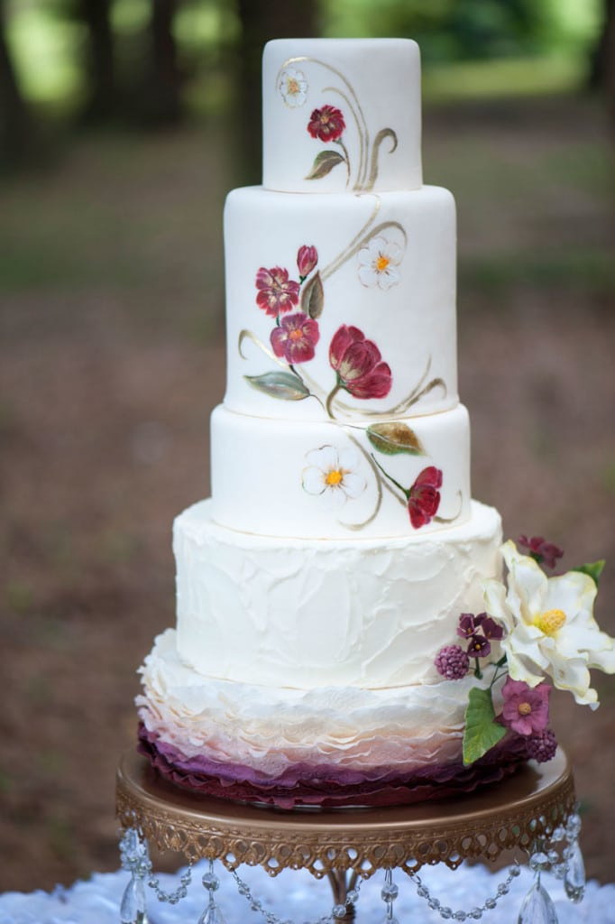 Marsala Hand Painted Floral Wedding Cake by Sofelle Cake Artistry. Wedding Cake Stand by Opulent Treasures. Photography by The Canovas