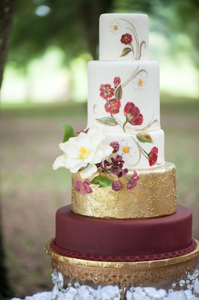 Marsala and Gold Hand Painted Floral Wedding Cake by Sofelle Cake Artistry. Wedding Cake Stand by Opulent Treasures. Photography by