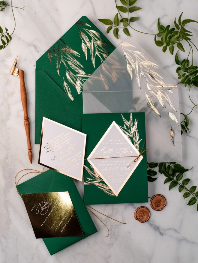 Geometric gold&green wedding invitations