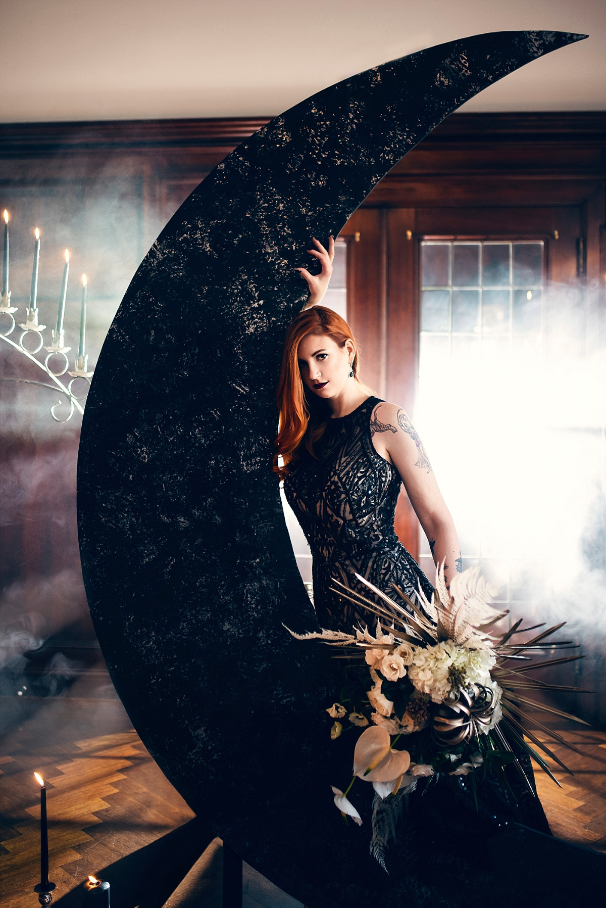 Dark and moody lunar wedding ideas