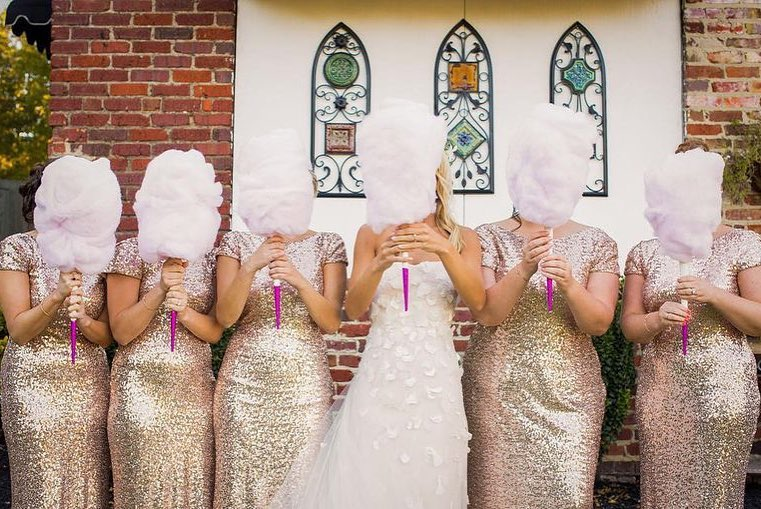Bridal party holding cotton candy bouquets