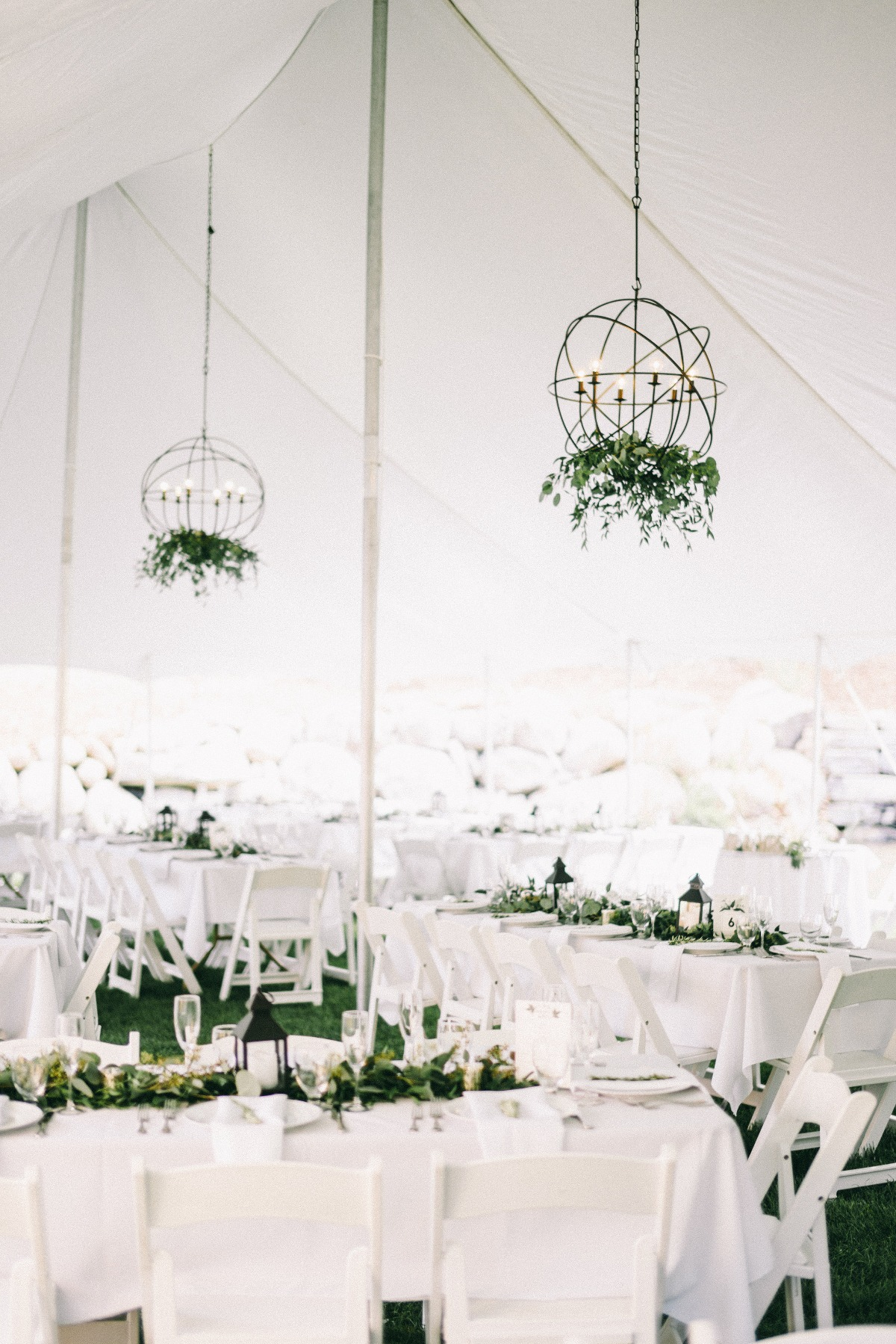 Natural chic tent reception