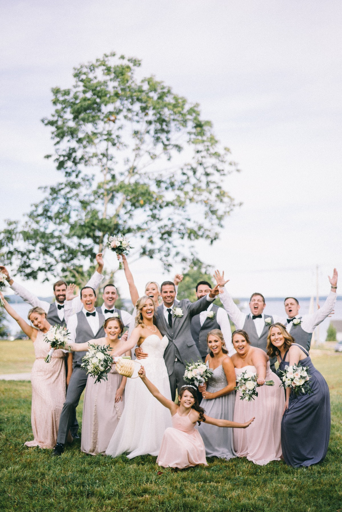 Blush and grey wedding party