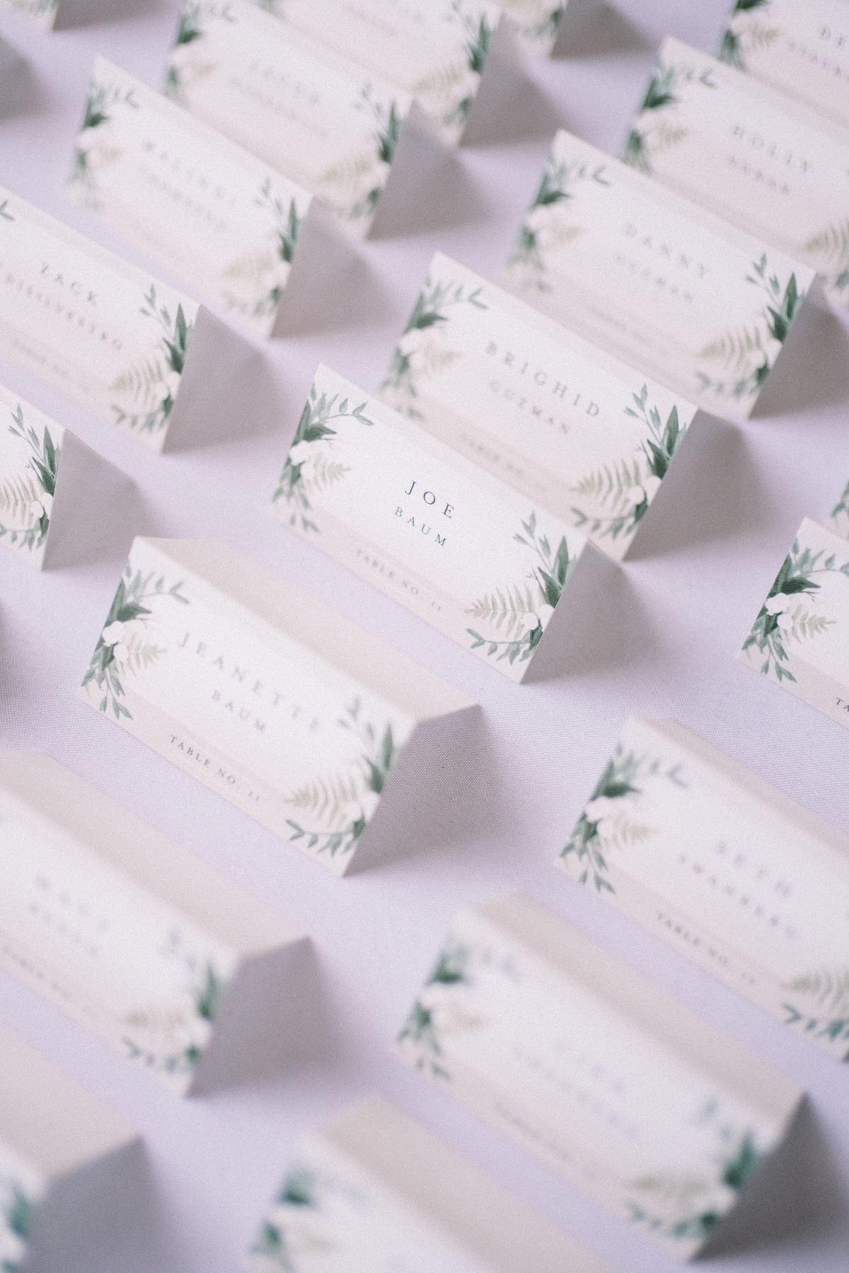 Greenery place card design