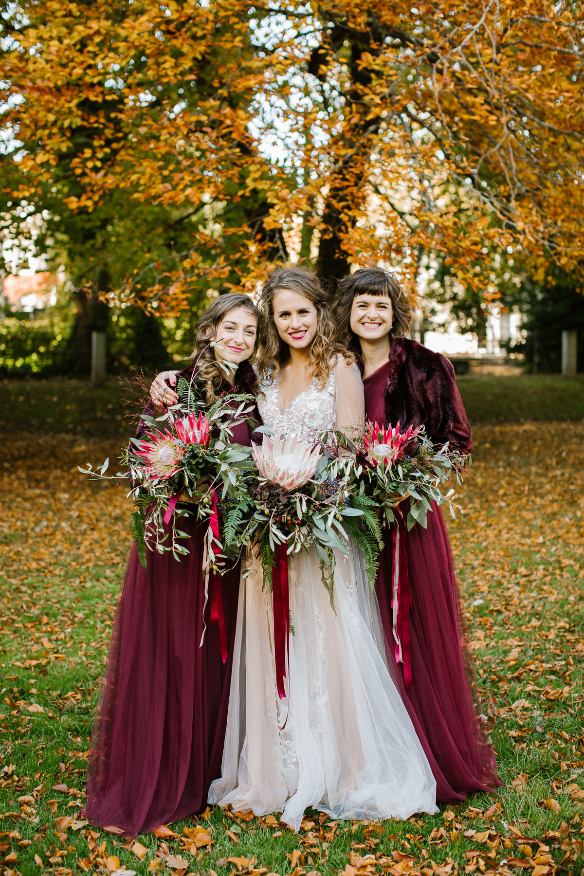 fall bridesmaids in red