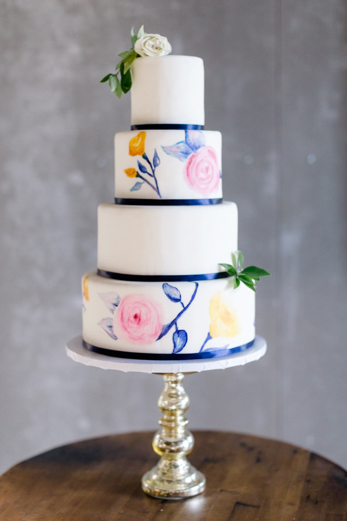 Painted floral wedding cake
