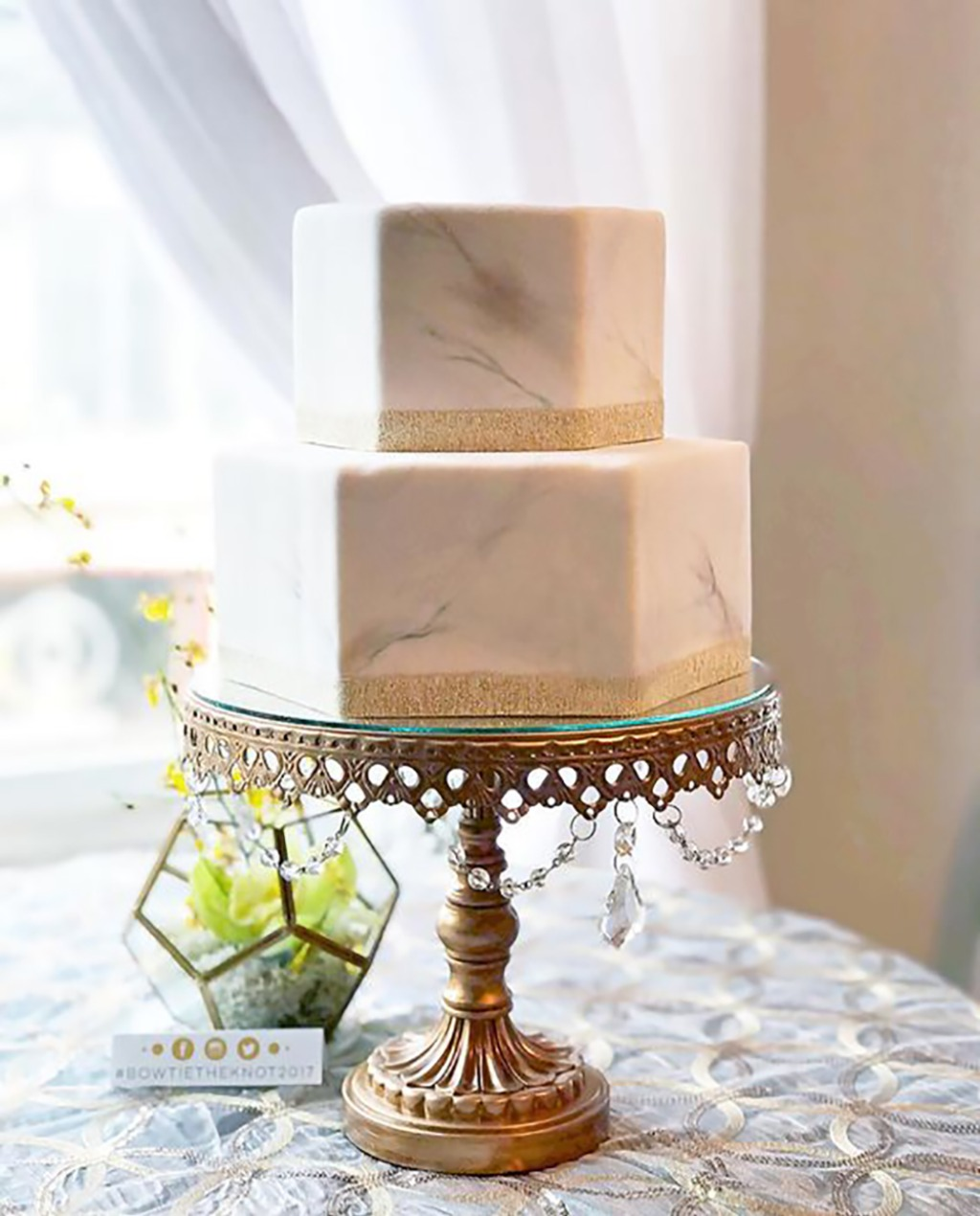Wedding Cake Inspiration for the Modern Bride...Simple Modern Geometric Marble Tiered Wedding Cake. Wedding Cake Stand created by Opulent