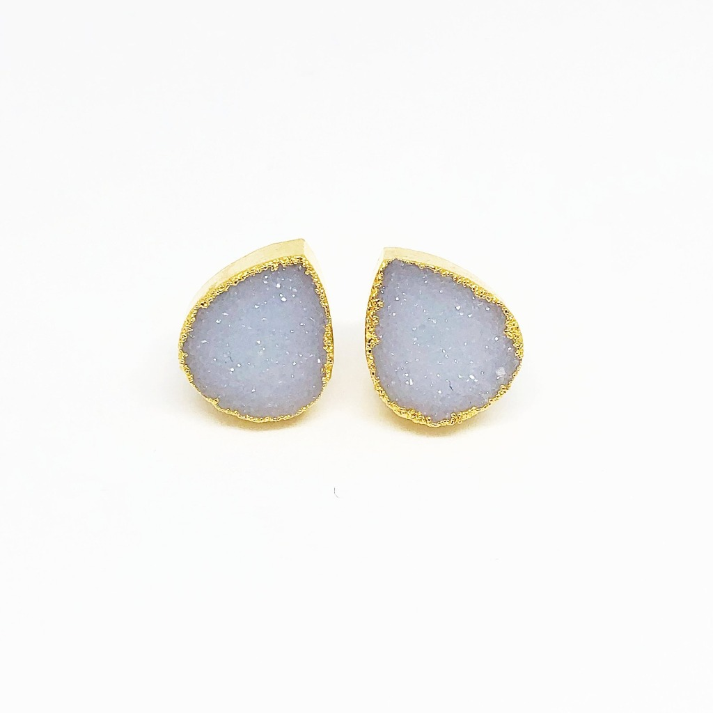 New for 2019 at The Lovely Little Label these stunning agate druzy stud earrings, set in brass with a gold plating are perfect as a