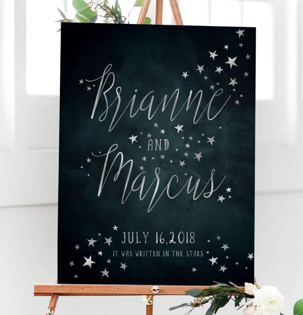 If your big day is starry themed, this Starry Night Sky Celestial Wedding Welcome Sign is the perfect sign to greet your guests on