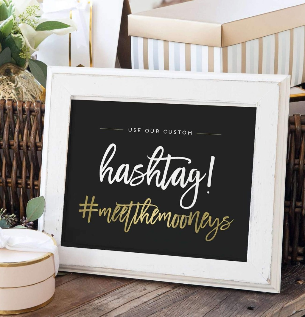 Let your guests know your wedding day hashtag in style with this Wedding Hashtag Sign from Miss Design Berry! Choose your colors and