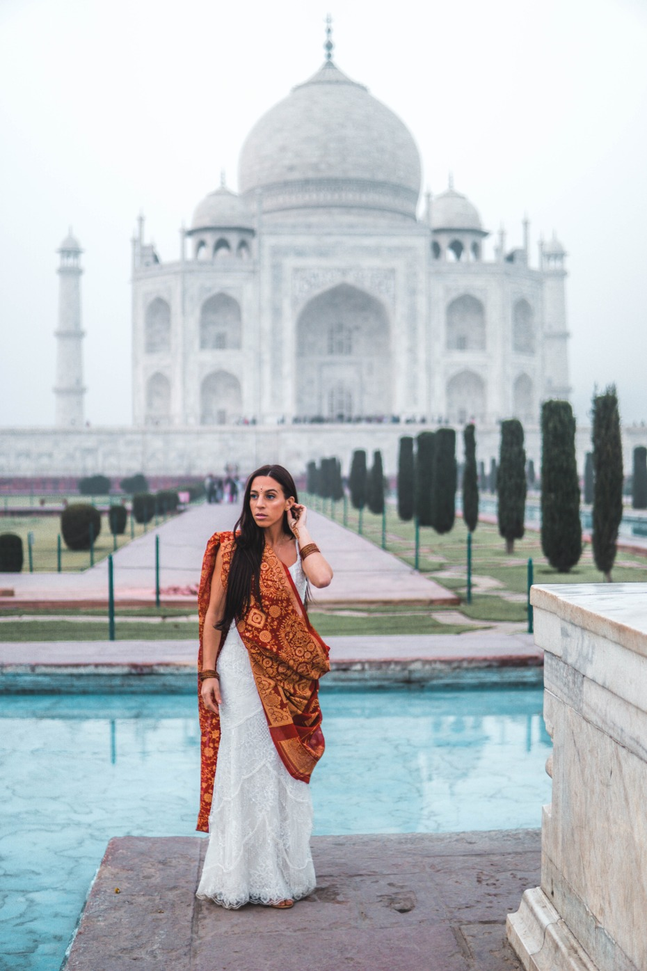 Zoe in Watters gown in India