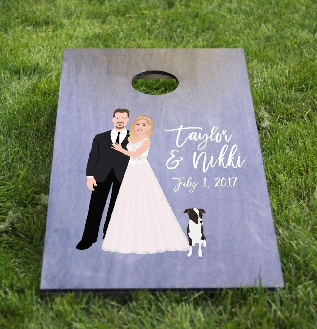 This awesome Wedding Cornhole Board Set with Couple Portrait is perfect for any outdoor wedding!! Such a fun way to add a little bit