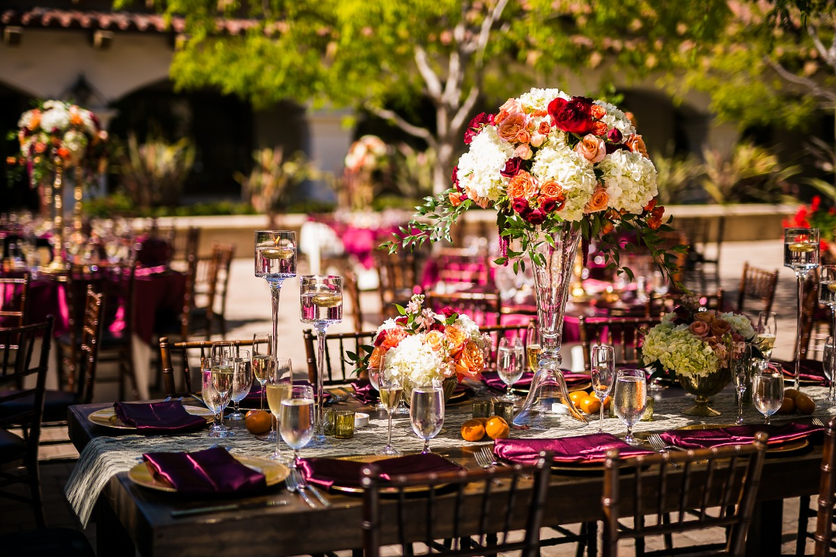 Outdoor reception with citrus inspiration
