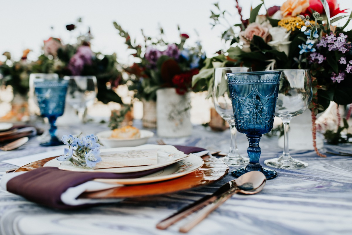 blue glassware for a wedding