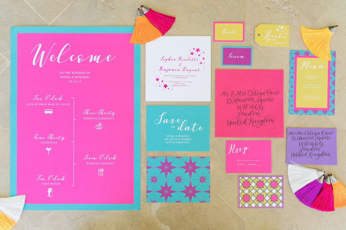 fun and funky wedding invitation suite