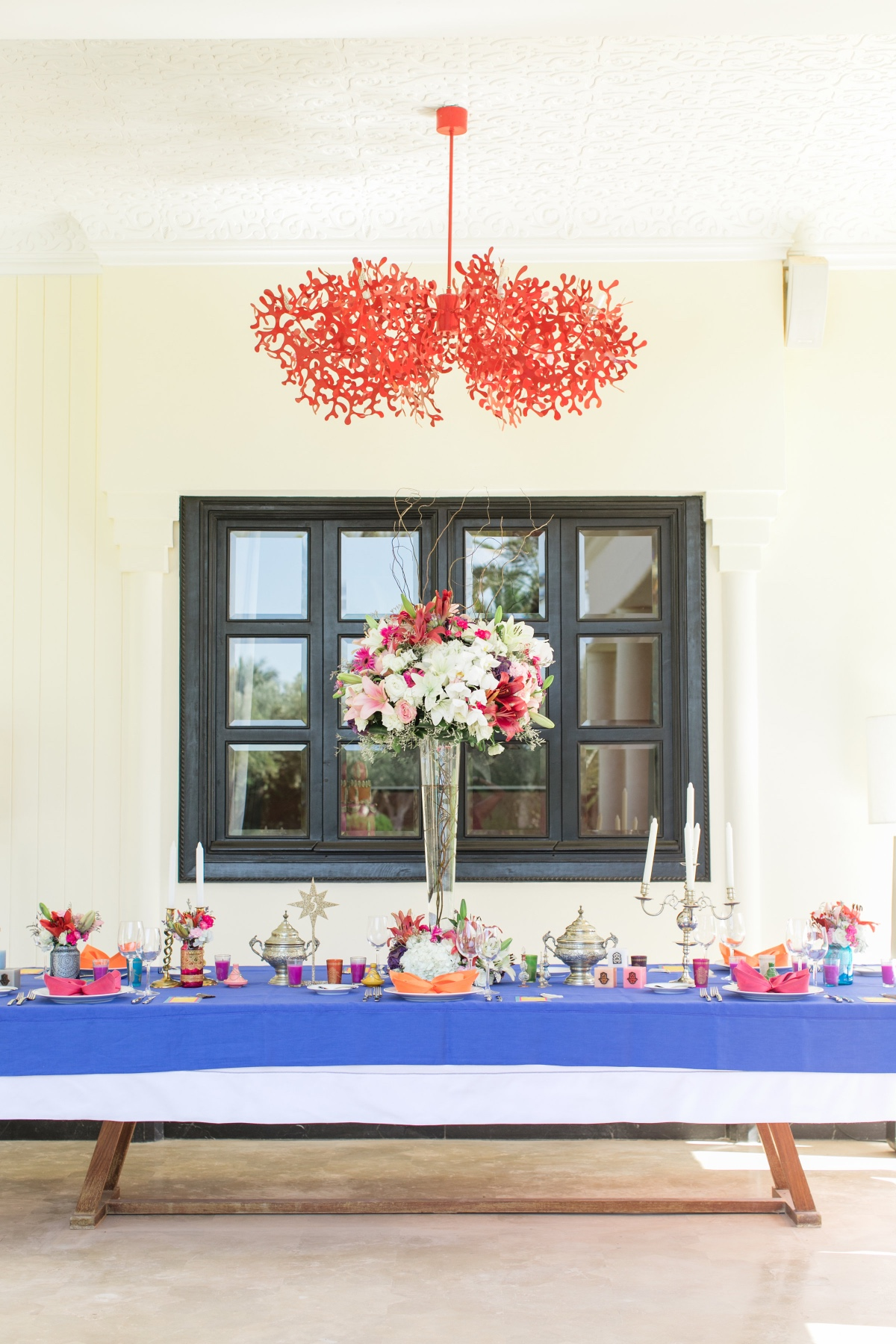 bright and colorful wedding table