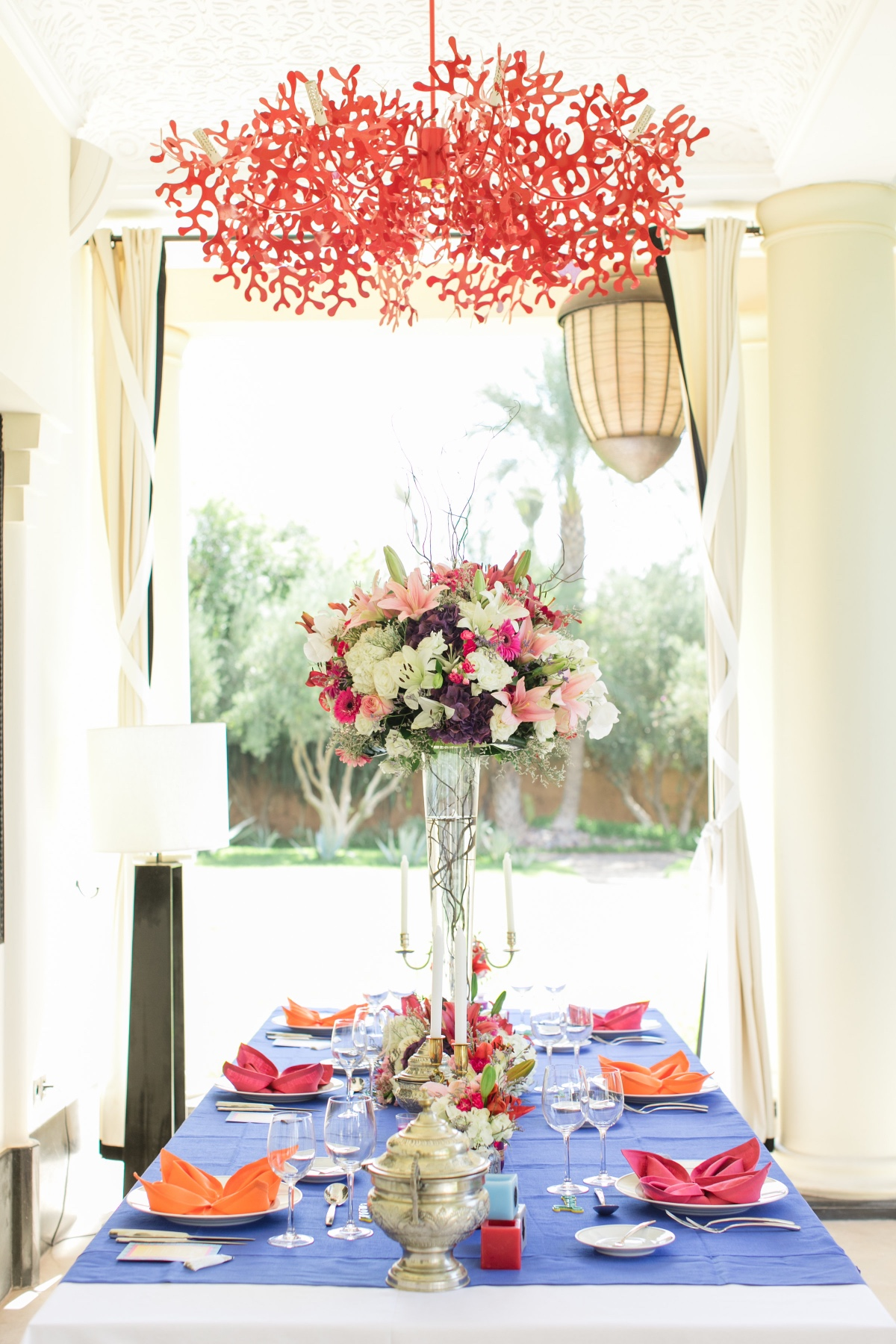 bright and colorful wedding table decor