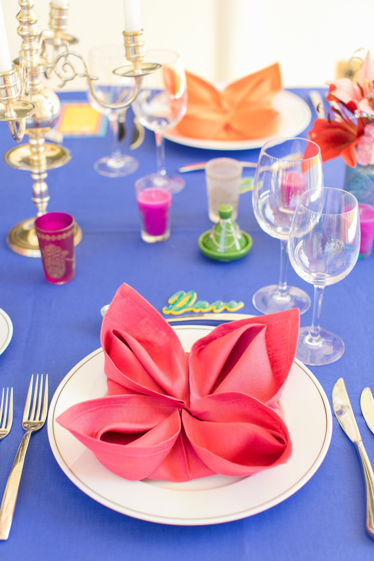 colorful napkin flowers