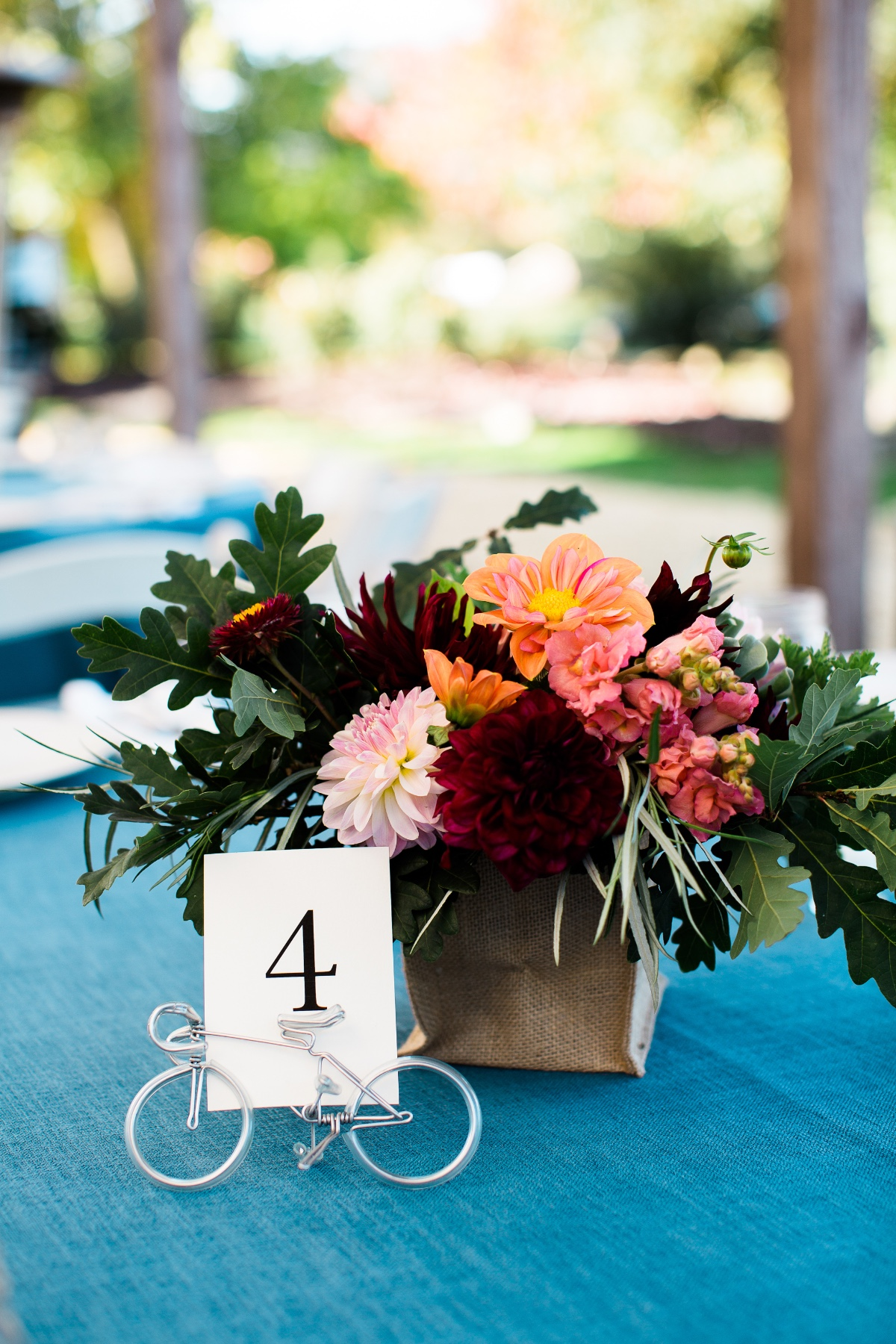Wedding table decor with a bike