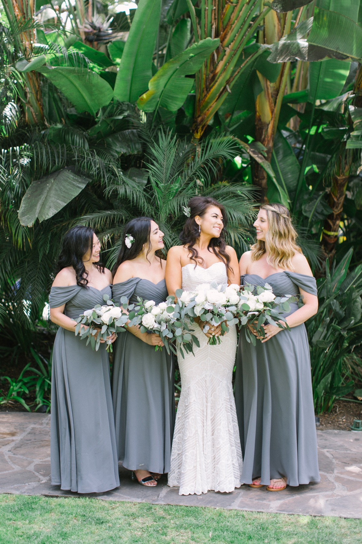 bridesmaids in all grey