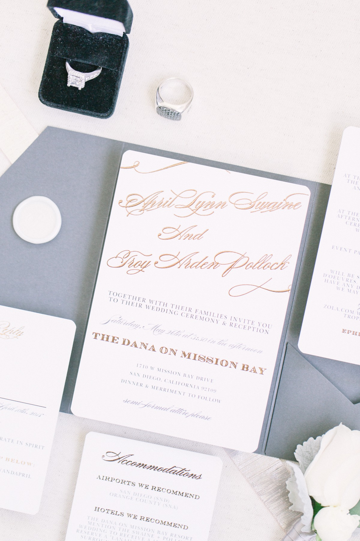 gold and grey wedding invitations