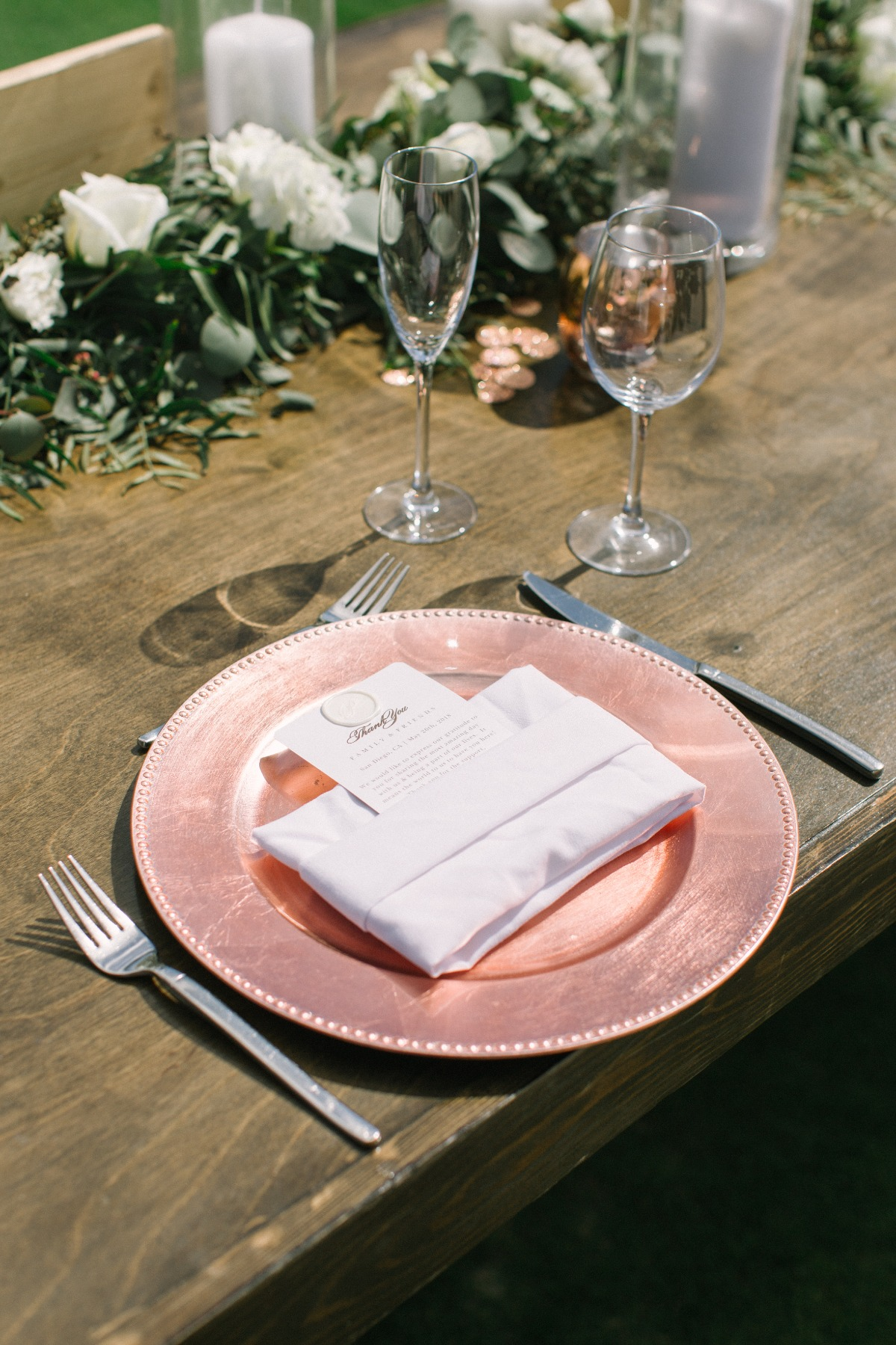 rose gold wedding charger