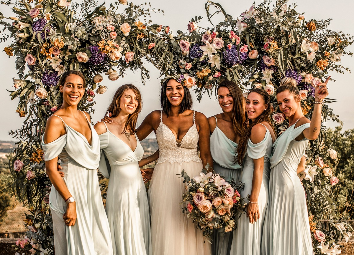 bridesmaids in soft blue dresses