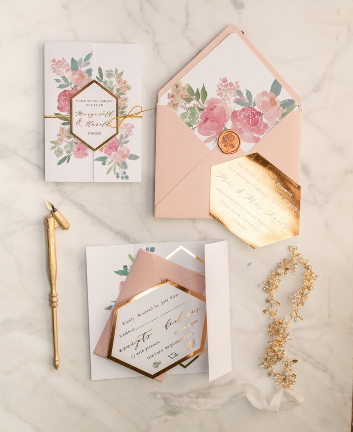 Pastel flowers, geometric frame and gold