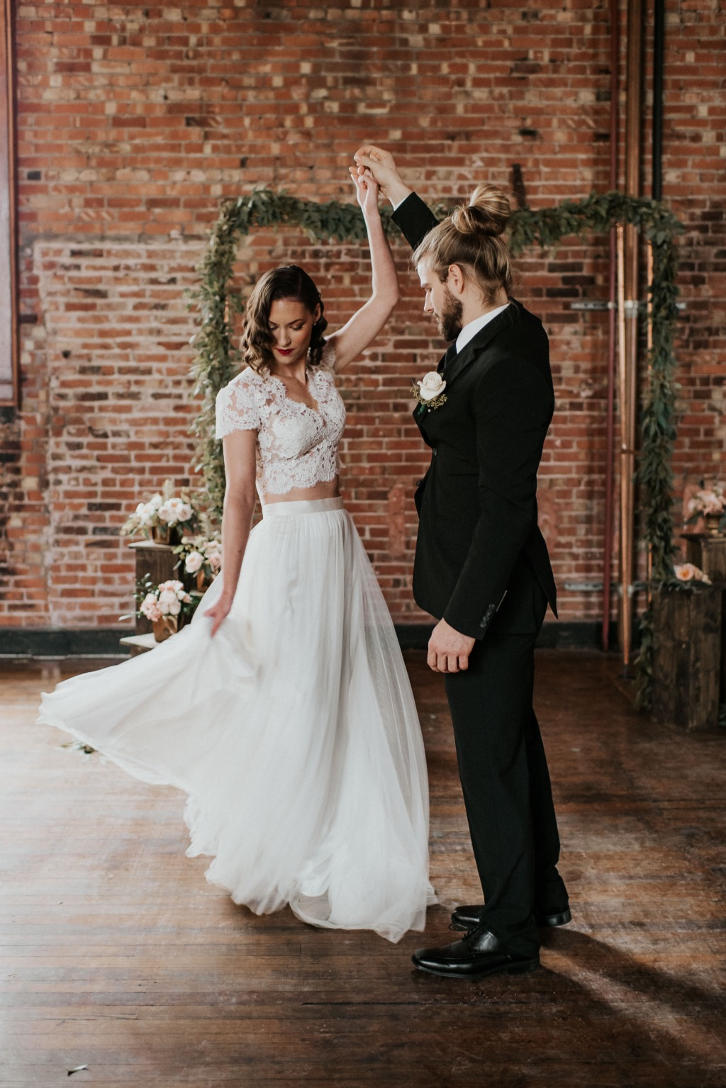 NEW YEARS EVE WEDDING EDITORIAL. Dress: Lea-Ann Belter Abigail top and May skirt | photographer: Kimberly Schuldt | vintage rentals