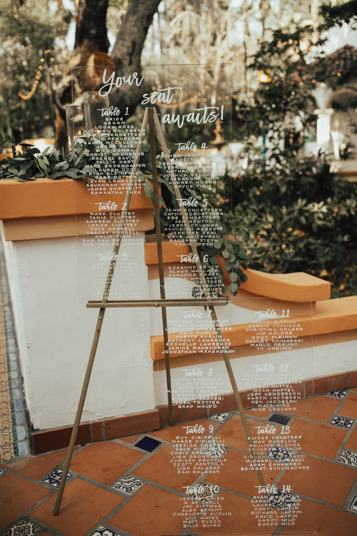 acrylic seating chart wedding