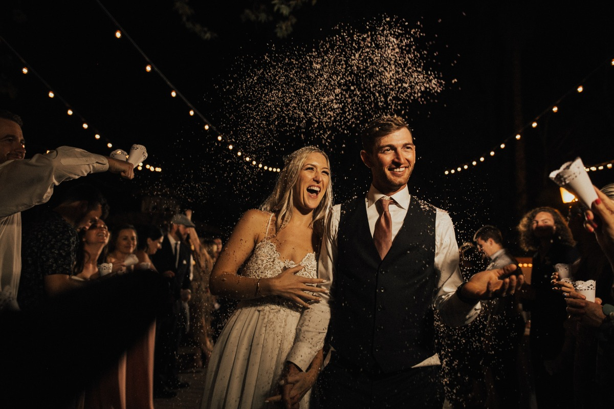 Confetti exit wedding