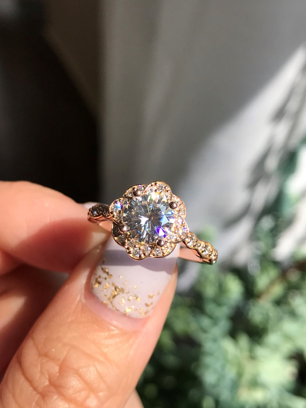Our newest Vintage Floral Scalloped Engagement Ring! With Round Cut Moissanite center stone and floral design, this beauty radiates