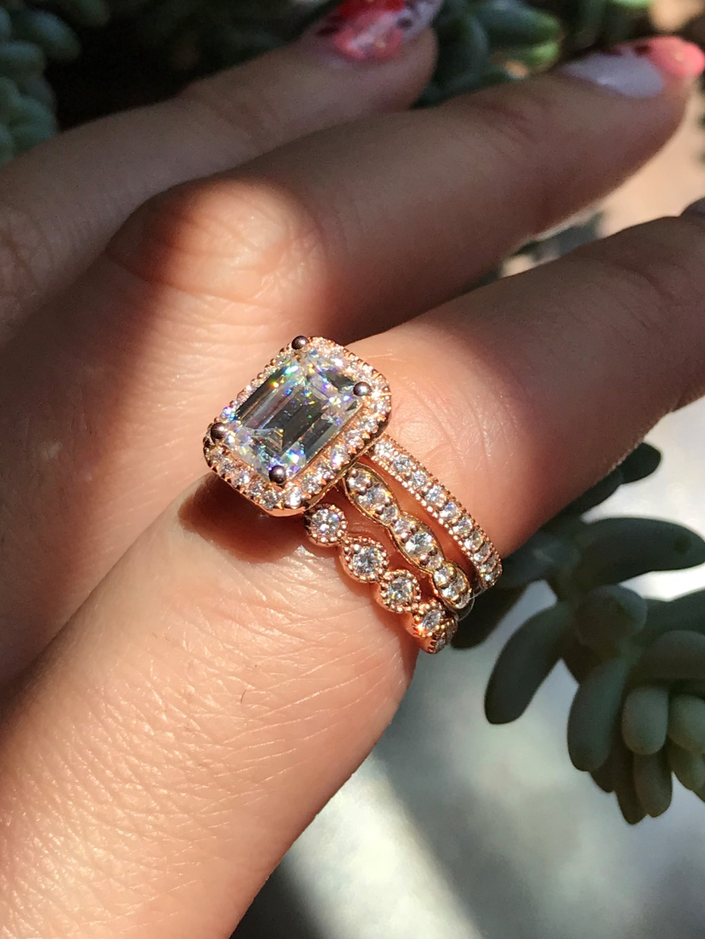 Vintage styled wedding bands look gorgeous paired with this Emerald Cut Moissanite Engagement Ring ~ Shop our Emerald Cut stacks!