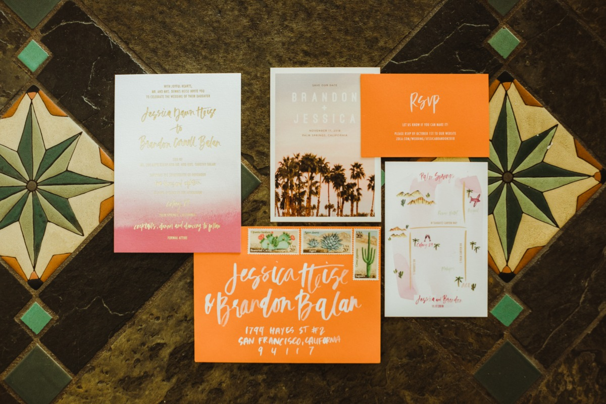 Orange and pink invitation suite