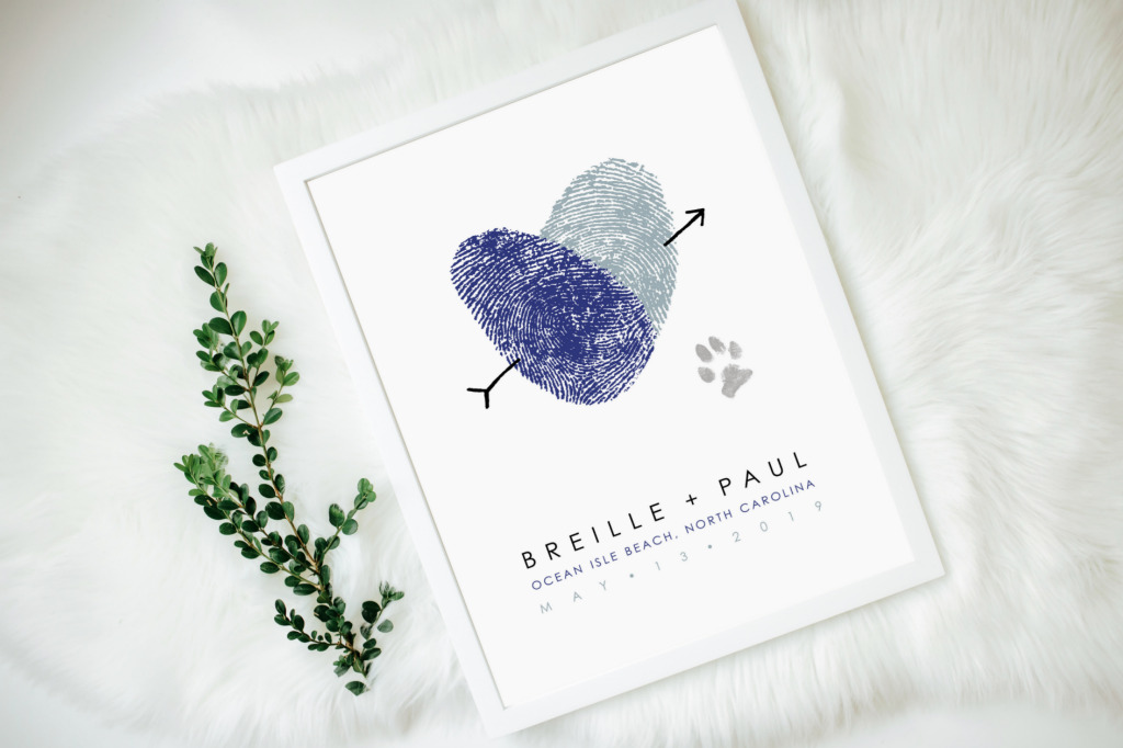 Something truly unique to your wedding with a guest book alternative made with your own fingerprints! And maybe even a paw print!