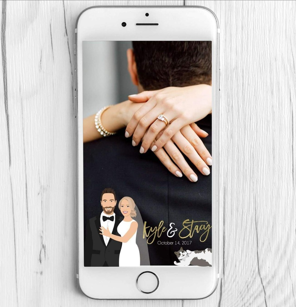 Our Wedding Snapchat Filter with Couple Portrait is a great way to add a bit of fun to your wedding reception!