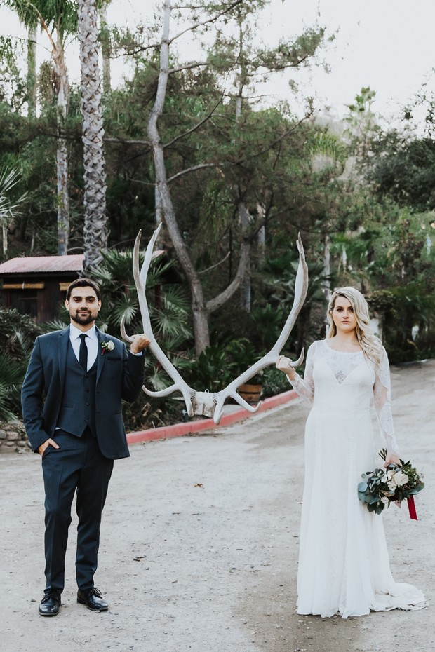 antler bride and groom photo