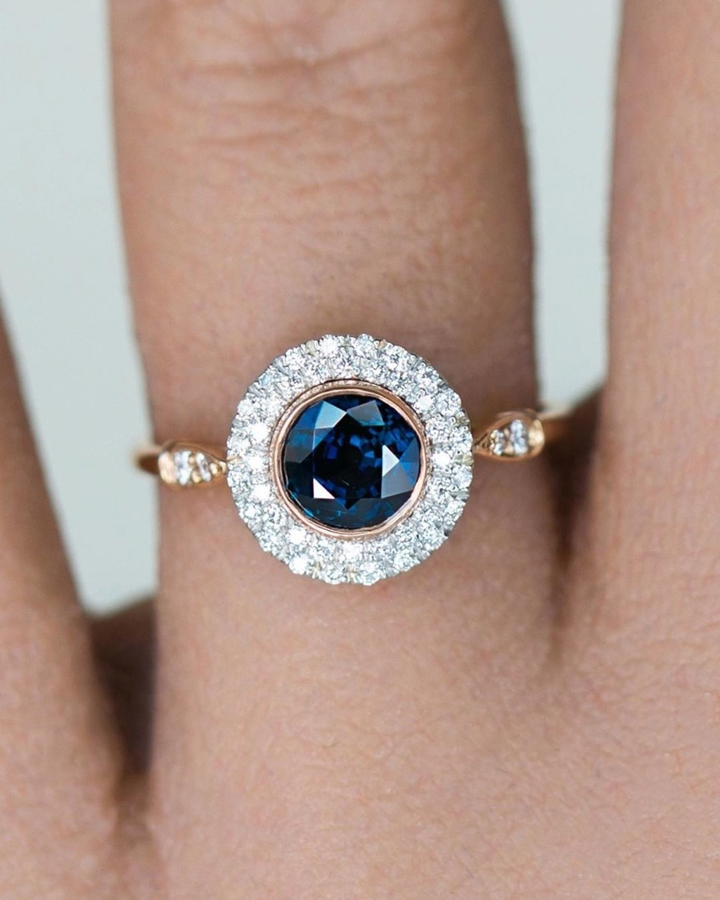 Warm rose recycled gold with cool platinum, diamonds, and Sapphire is one of my favorites 💙💗💙
